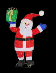 Home Accents Holiday 48 in. LED Lighted Tinsel Santa with Gift