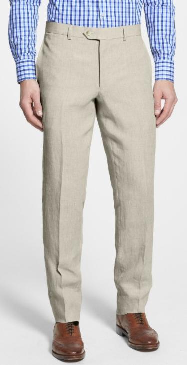 Flat Front Slim Leg Linen Trousers by NORDSTROM MEN'S SHOP