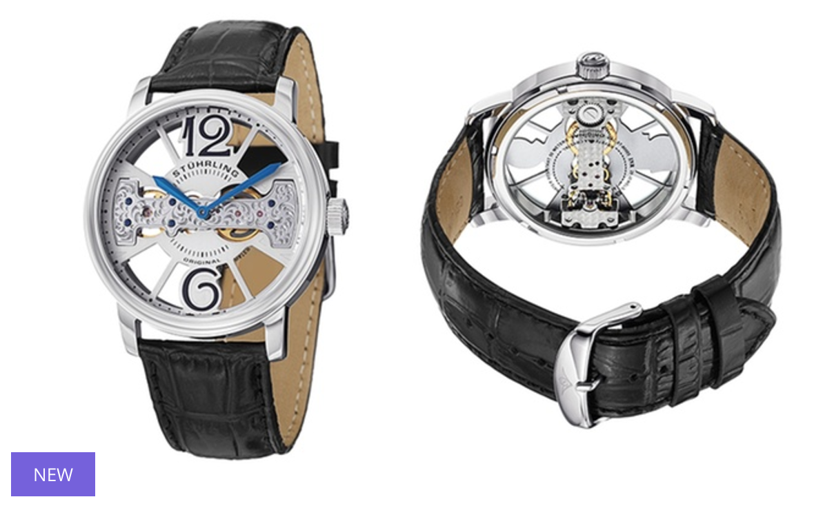 Stührling Original Men's Elegant Skeleton Watches