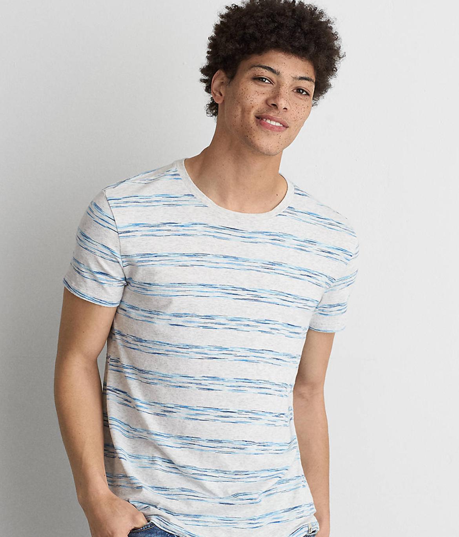 AEO Flex Space Dye Stripe Crew T-Shirt