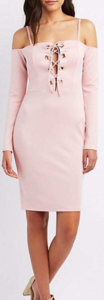 Lace-Up Cold Shoulder Dress