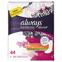 Always Discreet Incontinence Liners Very Light, 44 Count