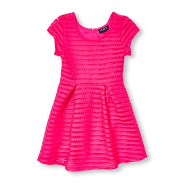 Girls Cap Sleeve Striped Mesh Flare Dress