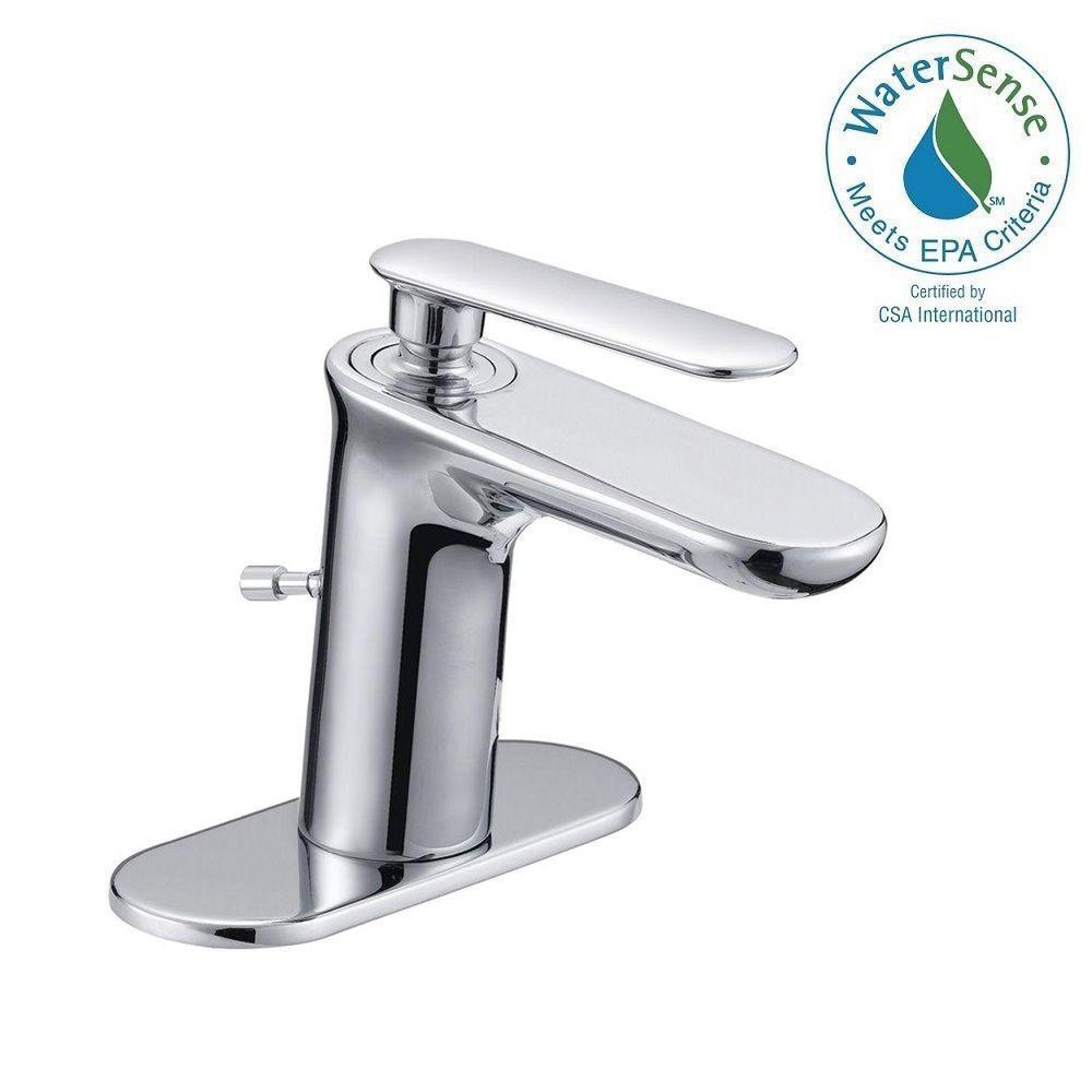 Glacier Bay 4 in. Centerset Carmine 1-Handle High-Arc Mono Block Bathroom Faucet in Chrome