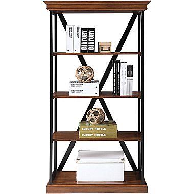 "St. Clair 4 Shelf 60"" Laminate Bookcase, Walnut w/ Antique Distressing"