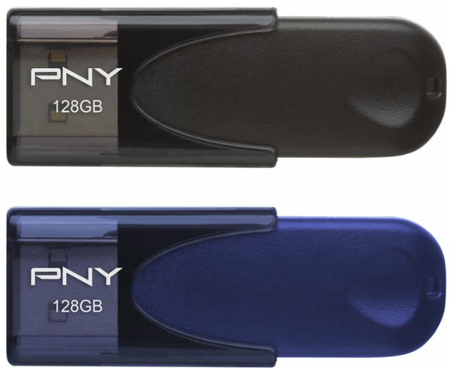 PNY - Attaché 128GB USB 2.0 Flash Drives (2-Pack) - Black/Navy