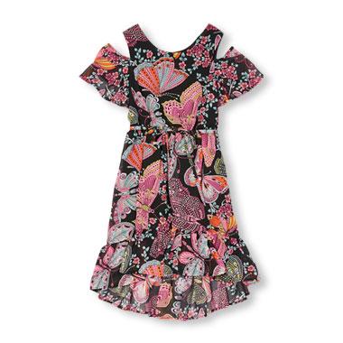 Girls Short Sleeve Butterfly Print Cold-Shoulder Hi-Low Dress