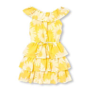 Girls Sleeveless Floral Printed Belted Ruffle Dress