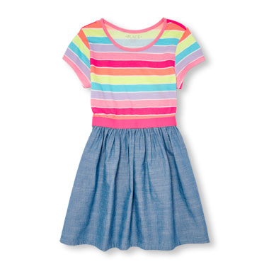 Girls Short Sleeve Neon Rainbow Stripe And Chambray Dress
