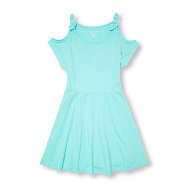 Girls Short Sleeve Cold-Shoulder Knit Dress