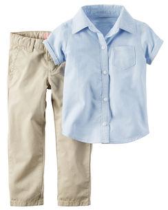 2-Piece Shirt & Khaki Uniform Pant Set