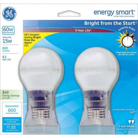 GE 60W Equivalent Bright From the Start CFL Light Bulb, A19, 2-Pack