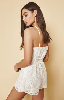 Kendall & Kylie Lace High Neck Cutout Romper