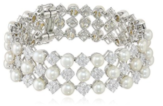 """Sterling Silver White Freshwater Cultured Pearl Cubic Zirconia Bracelet, 7.75"""""""