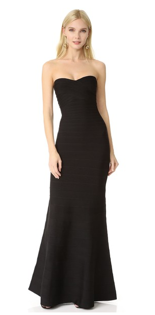 Herve Leger Strapless Gown