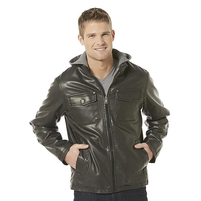 Structure Men's Synthetic Leather Hooded Jacket