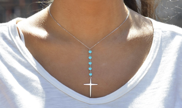 2.00 CTTW Genuine Turquoise Beaded Cross Necklace in Sterling Silver by GemmaLuna