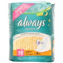 Always Pads, Ultra Thin, Overnight, 38 pads