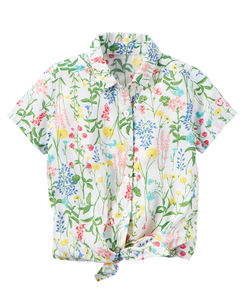 Floral Tie-Front Shirt