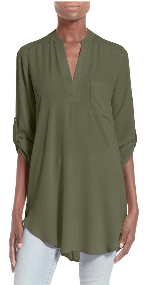Perfect Roll Tab Sleeve Tunic by LUSH