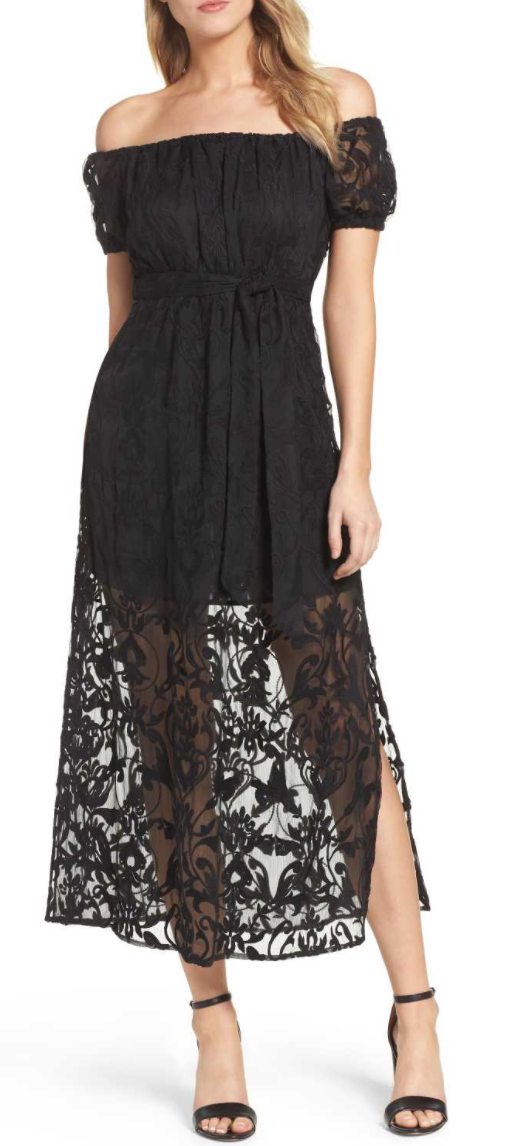 Gracie Off the Shoulder Maxi Dress by BARDOT