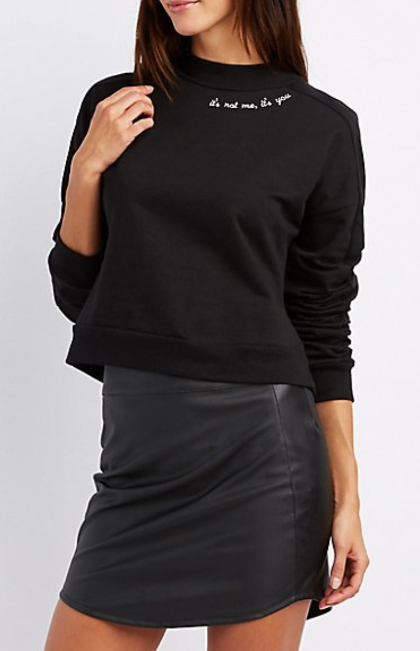 Embroidered Mock Neck Pullover