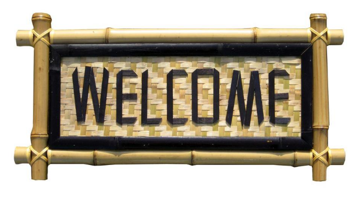 Backyard X-Scapes 24 In. x 12 In. Bamboo Sign - Welcome