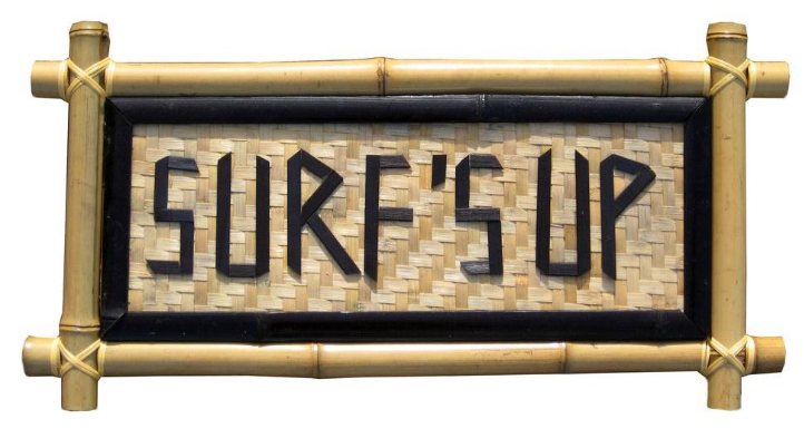 Backyard X-Scapes 24 in. x 12 in. Surf's Up Bamboo Sign