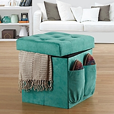 Anthology™ Sit & Store Folding Ottoman in Tufted Aqua