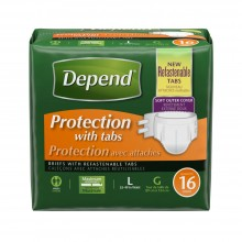 Depend Protection with Tabs Incontinence Underwear, Maximum Absorbency, Large, 16 Count