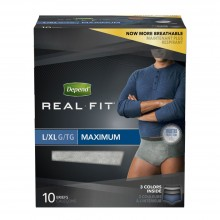 Depend Real Fit for Men Briefs, Maximum Absorbency, L/XL, 10 briefs