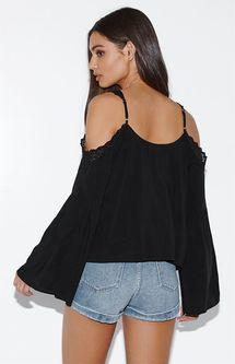 Kendall & Kylie Crochet Trim Cold Shoulder Top