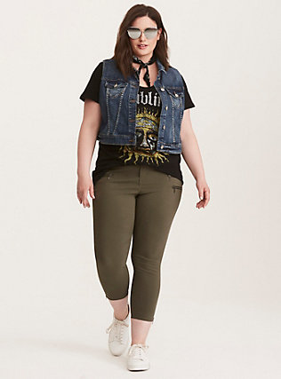 Cropped Skinny Zip Pants - Olive Deluxe Stretch