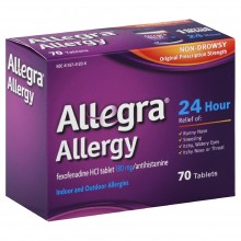 Allegra allergy, 24 hour, original prescription strength, 180 mg, tablets 70 tablets