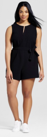 Women's Plus Black Tie Waist Romper - Victoria Beckham for Target