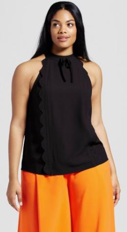 Women's Plus Black High Neck Scallop Trim Tank Top - Victoria Beckham for Target