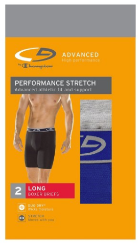 Men's Performance Stretch Long Leg Boxer Briefs Gray Medium - 2pk - C9 Champion® Underwear