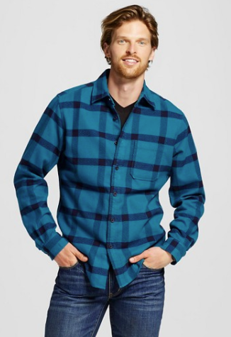 Men's Print Crepe Flannel Button Down Shirt Teal - Merona™
