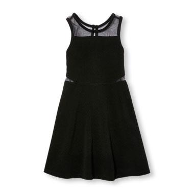 Girls Sleeveless Mesh Cutout Ponte Dress
