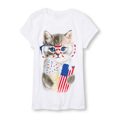Girls Americana Short Sleeve Patriotic Kitty Graphic Tee