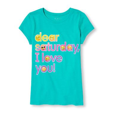 Girls Short Sleeve 'Dear Saturday I Love You!' Emoji Graphic Tee