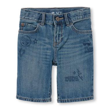 Boys Doodle Five-Pocket Denim Shorts