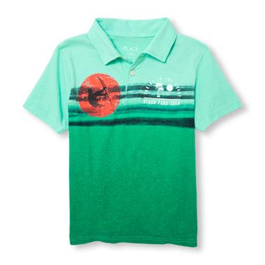 Boys Short Sleeve Summer Graphic Jersey Polo