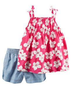 2-Piece Smocked Floral Tank Top & Chambray Short Set
