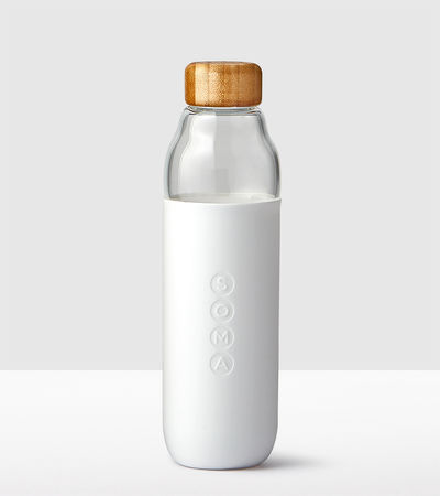 Glass Water Bottle - White
