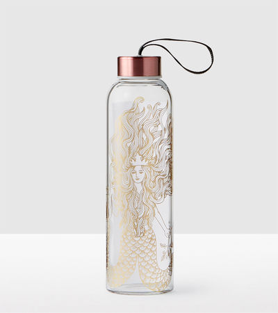 Gold Siren Glass Water Bottle