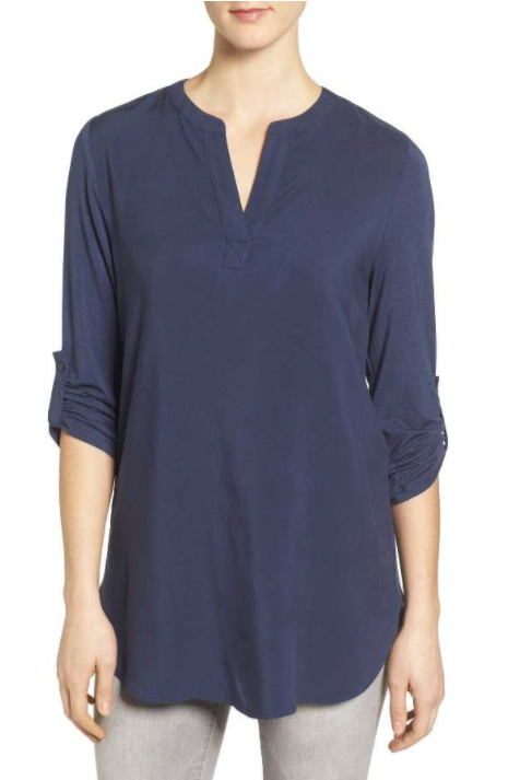 Split Neck Roll Sleeve Tunic PLEIONE