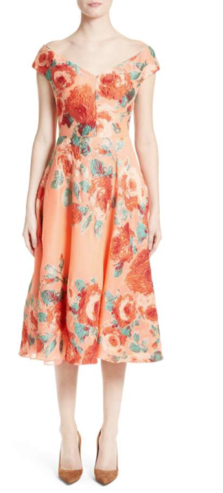 Floral Fil Coupé Dress LELA ROSE