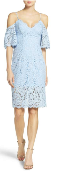 Karlie Cold Shoulder Lace Dress BARDOT