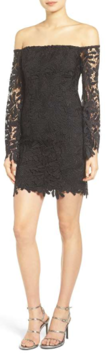 Flora Lace Off the Shoulder Dress BARDOT